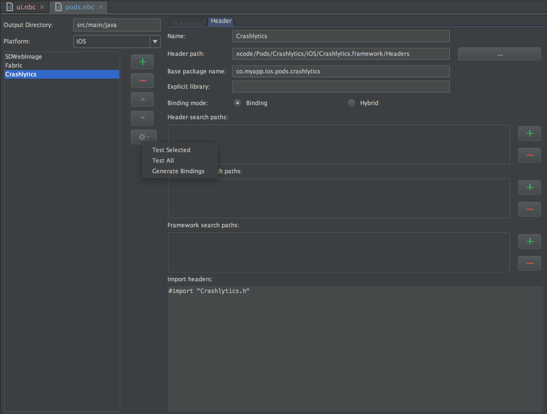 Gear icon android studio - Support - Multi-OS Engine