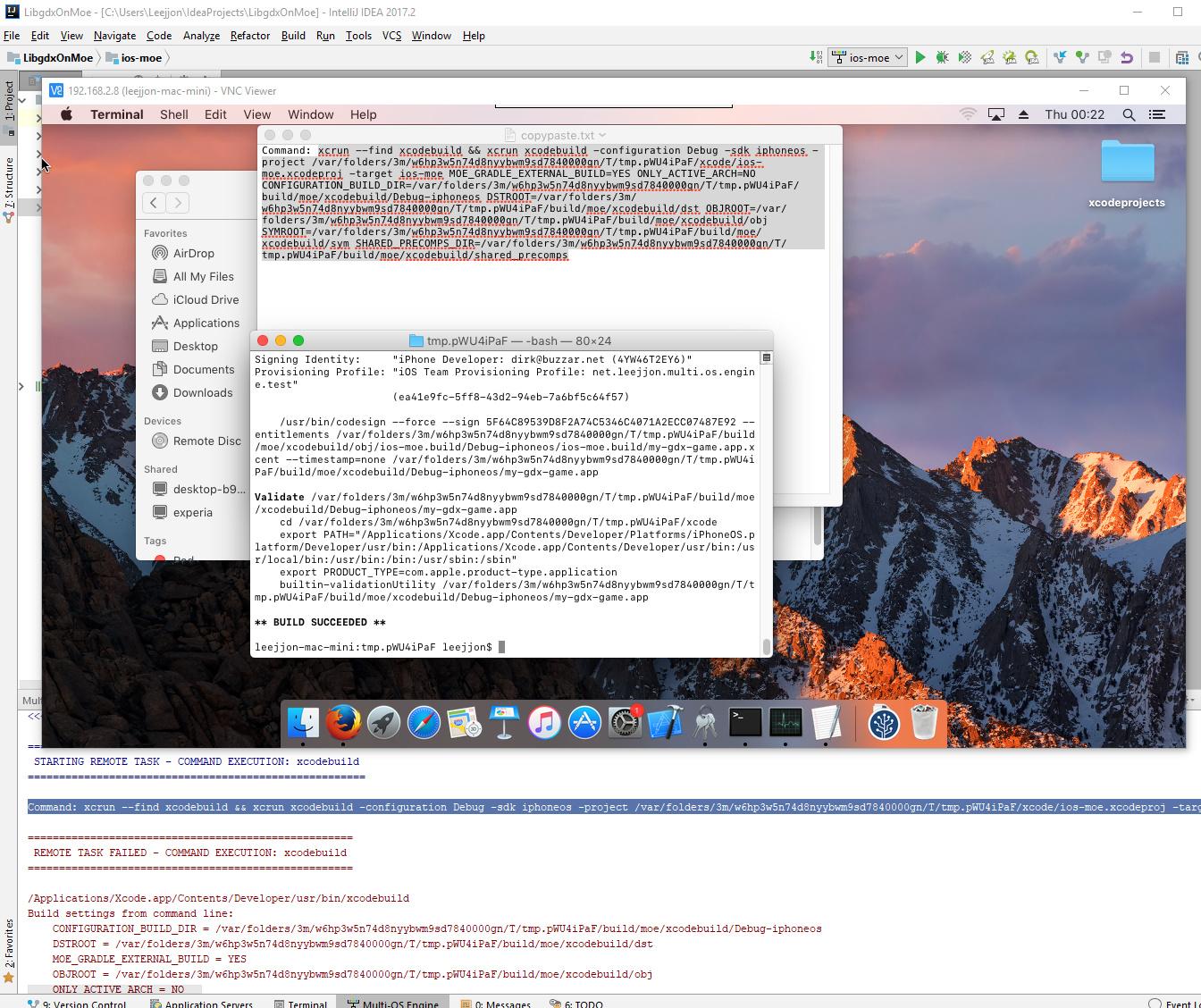 MOE framework: Unknown Error when running hello world app